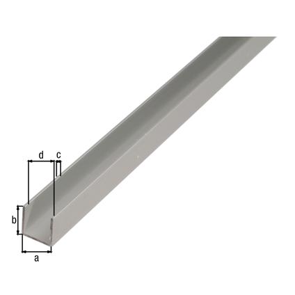 Profilé U GAH Alberts aluminium anodisé argent 2 m x 1,5 cm x 1,5 cm