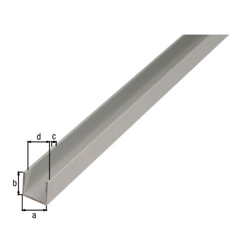 Profilé U GAH Alberts aluminium anodisé argent 2 m x 2,5 cm