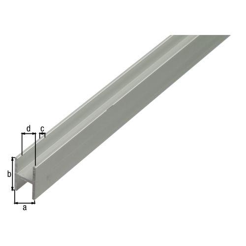 GAH Alberts H-profiel aluminium zilverkleurig geëloxeerd 13,5x22x1,5mm 2m