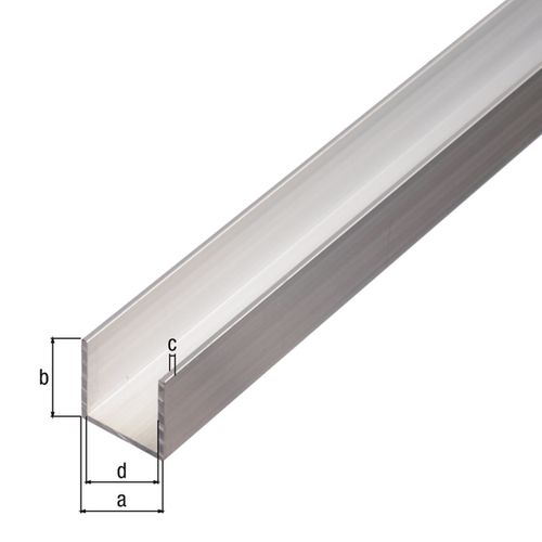 Profilé U GAH Alberts aluminium brut 2,6 m x 1,5 cm