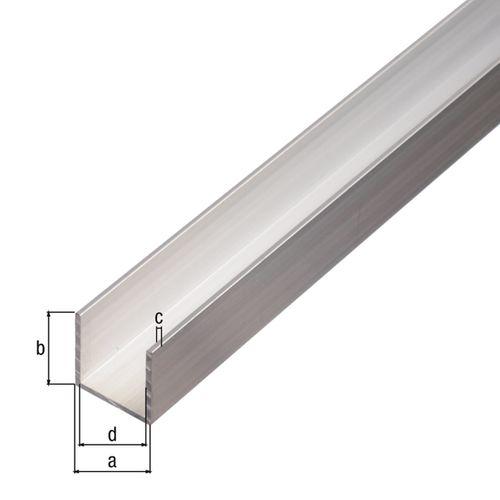 Profilé U GAH Alberts aluminium brut 2,6 m x 2 cm