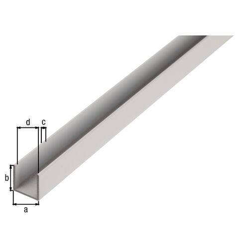 Profilé U GAH Alberts aluminium brut 2,6 m x 1 cm x 1 cm