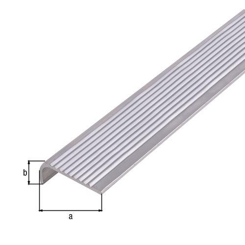 Nez de marche GAH Alberts aluminium gris 1 m x 4 cm