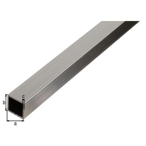 Tube carré GAH Alberts aluminium gris 2 m x 1,5 cm