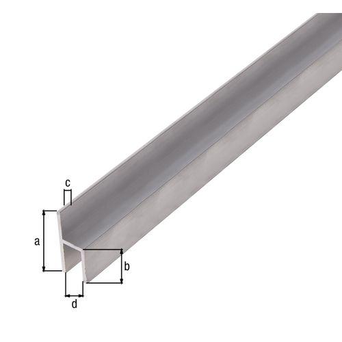Profilé H GAH Alberts aluminium gris 2 cm x 2,6 cm
