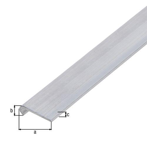 Profilé plat GAH Alberts aluminium gris 1 m x 2 cm