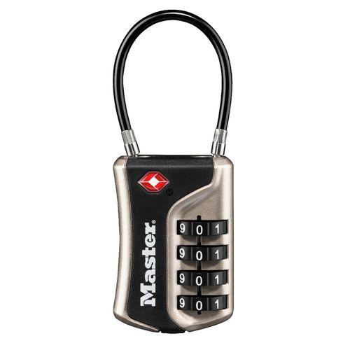 Master Lock hangslot met combinatie '4697EURDNLK' metaal zwart / grijs 36 mm