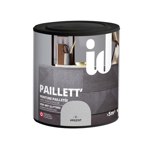 Peinture pailletée pour meuble ID 'Paillett' argent 500ml