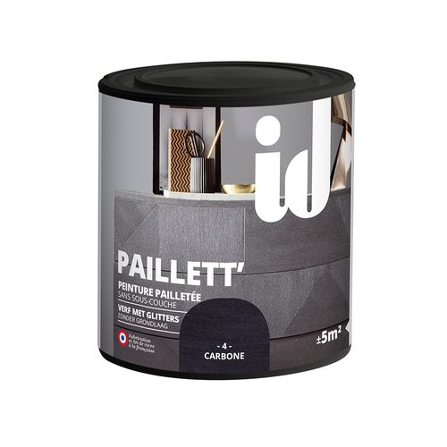 Glitterverf Paillett' 500ml koolstof