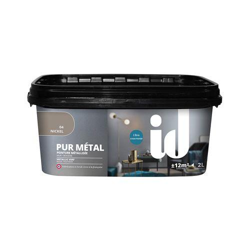Peinture à effet métallique ID 'Pur Metal' nickel brillant 2L