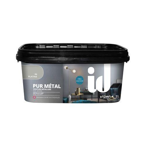 Peinture à effet métallique ID 'Pur Metal' platine brillant 2L