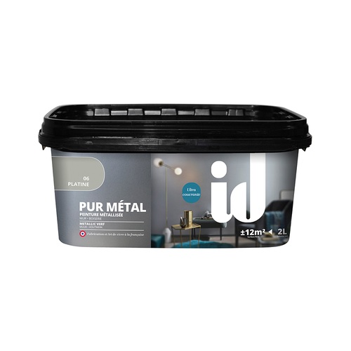 ID metaallook verf 'Pur Metal' platina hoogglans 2L