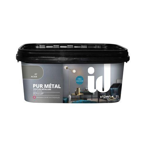 Peinture à effet métallique ID 'Pur Metal' acier brillant 2L
