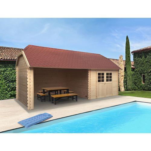 Solid tuinhuis York hout 8,88m² 298x298 + 364cm