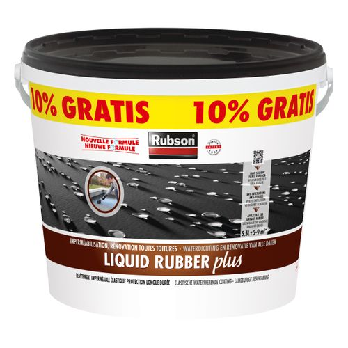 Rubson vochtwerende coating Liquid rubber plus zwart 5L + 500ml gratis