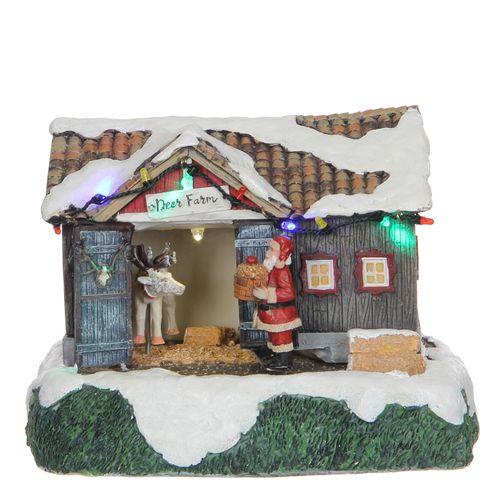 Verliche kerstbeeld boerderij 20x15x15cm