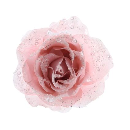Decoris roos clip licht roze 14cm