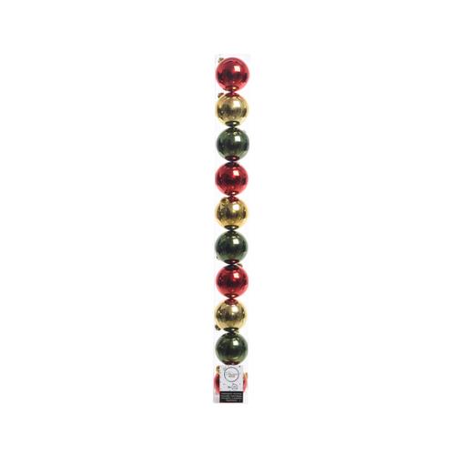 Boules de Noël Grand Café rouge/vert/or brillant 10 pièces