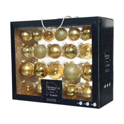 Kerstballenset goud 42 stuks