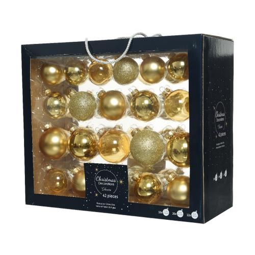 Boules de Noël assortiment brillant/mat/paillettes/transparent or claire 42 pièces