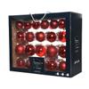 Glazen kerstballen assortiment glanzend/mat/glitter/transparant rood 42 stuks