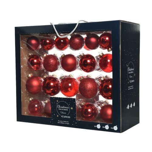 Boules de Noël assortiment brillant/mat/paillettes/transparent rouge 42 pièces