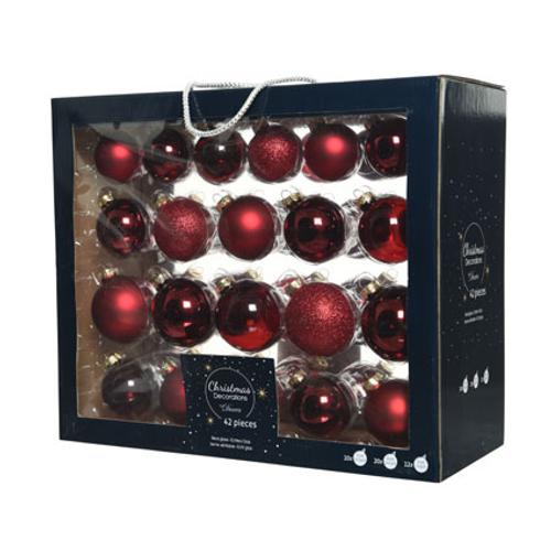 Boules de Noël assortiment brillant/mat/paillettes/transparent bordeaux 42 pièces