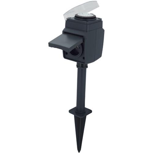 Dubbel opbouwstopcontact met schakelklok en paal