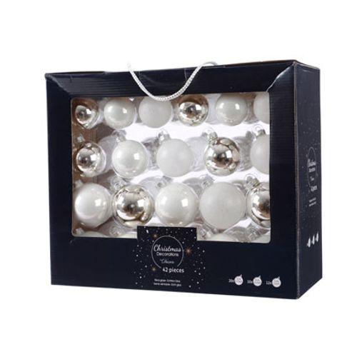 Glazen kerstballen assortiment glanzend/mat/glitter wit/zilver 42 stks