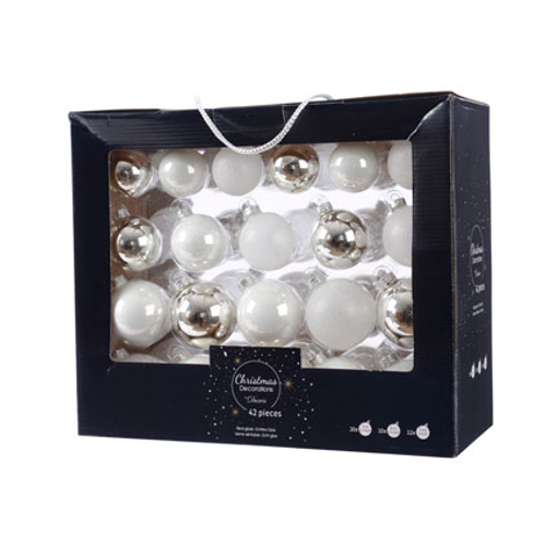 Boules de Noël assortiment brillant/mat/paillettes blanc/argent 42 pièces