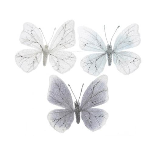 Boule de Noël Papillon blanc givré 80mm
