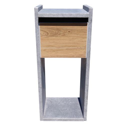 Boite aux lettres sur pied VASP 'Everest Woodlook' pierre bleue belge et céramique