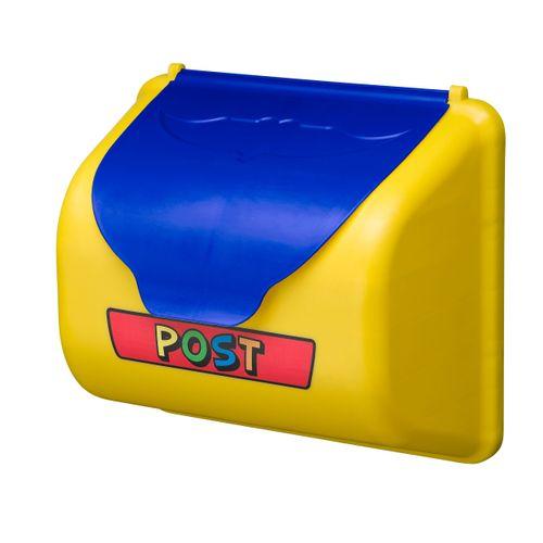 Swing King brievenbus geel/blauw 25 cm