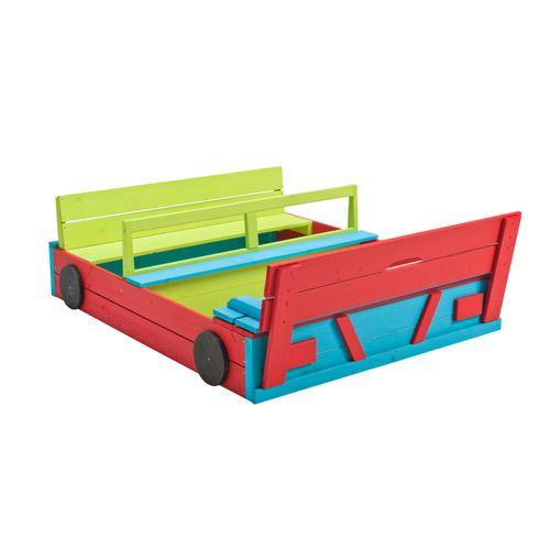 Swing King zandbak auto gekleurd 120 x 100 cm met bankjes