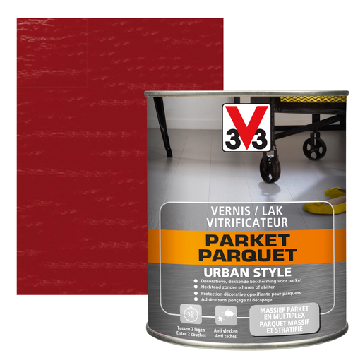 Vitrificateur parquet V33 Urban Style rouge fusion brillant 750ml