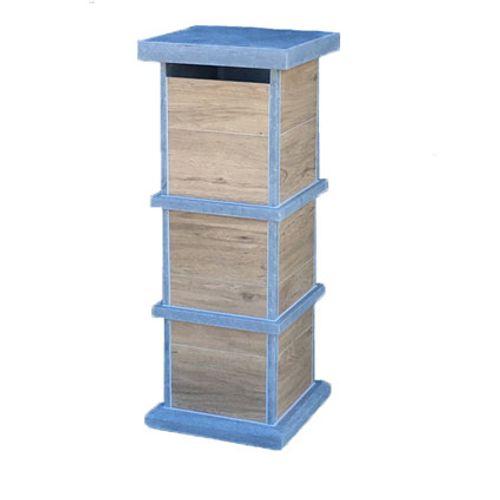 Boite aux lettres sur pied VASP 'Pamplona Woodlook' pierre bleue belge et céramique