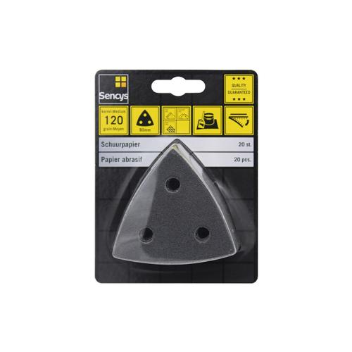Sencys schuurpapier K120 80x80mm – 20 stuks