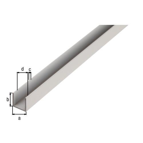 Profilé U GAH Alberts aluminium gris 2,6 m x 1 cm