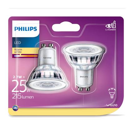 Philips LED-spot 3,1W GU10 - 2 stuks