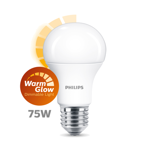Philips LED lamp A60 E27-75W warmglow 1 stuk