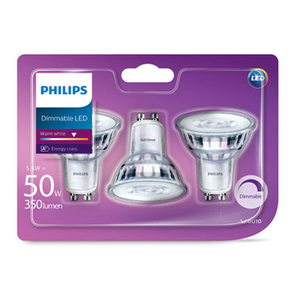 Ampoule LED Philips 'GU10' 5W - 3 pcs