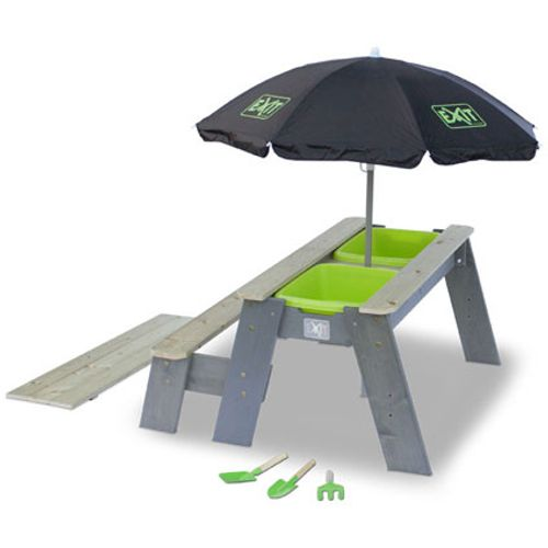 Exit water- en zandpicknicktafel Aksent L met bankje, parasol en tuin gereedschappen 95 x 89 cm