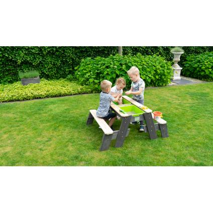 Table de pique-nique à eau et à sable Exit 'Aksent L' avec 2 bancs 121 x 95 cm
