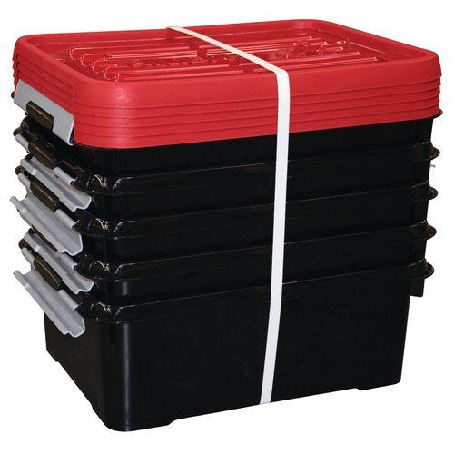 Boîte de rangement Curver Handy+ noir rouge 5x12L