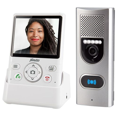 """Deurintercom met camera en 3,5"""" kleurendisplay wit-zilver"""