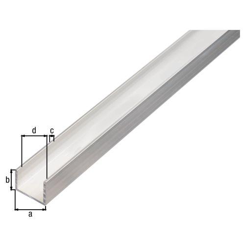 U-profiel GAH Alberts aluminium 100cmx8mmx10mm