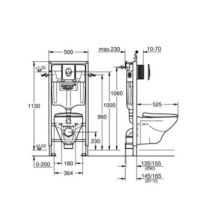 Grohe zwevend wc-pack 'Geo' 3/6 L