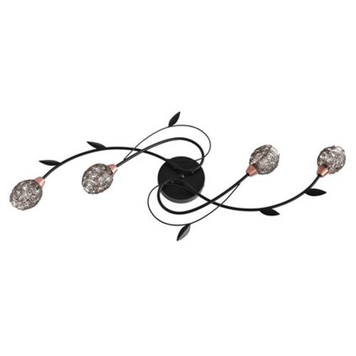Seynave plafondlamp 'Arezza' zwart 4 x 33 W
