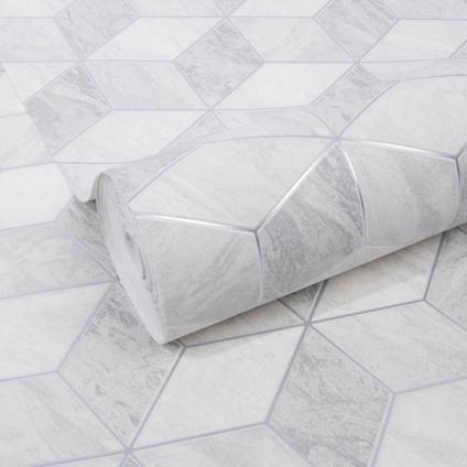 Decomode vliesbehang Geometric marble grijs