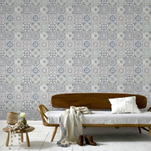 Papier peint intissé DecoMode carreau portugais multicolore